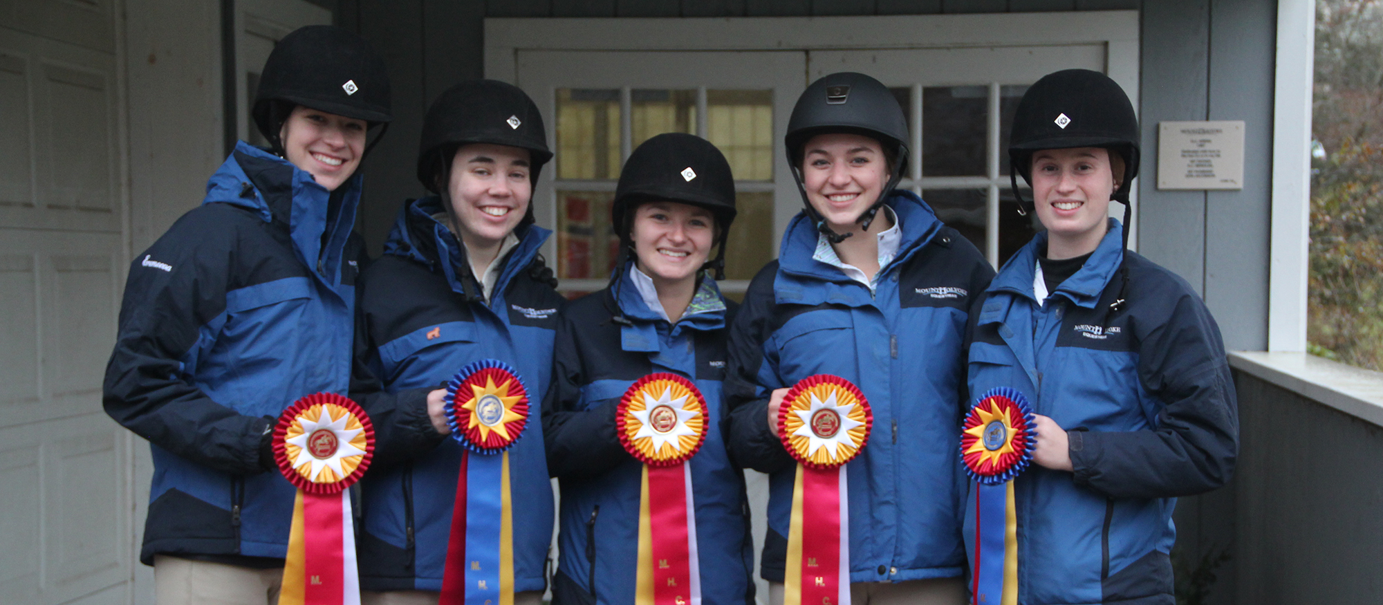 Photo featuring Riding award winners from November 18th's home riding show. Left to right are Franny Eremeeva, Taryn Isenburg, Emma Recchi, Cat Lamond and Harriet Thomson.
