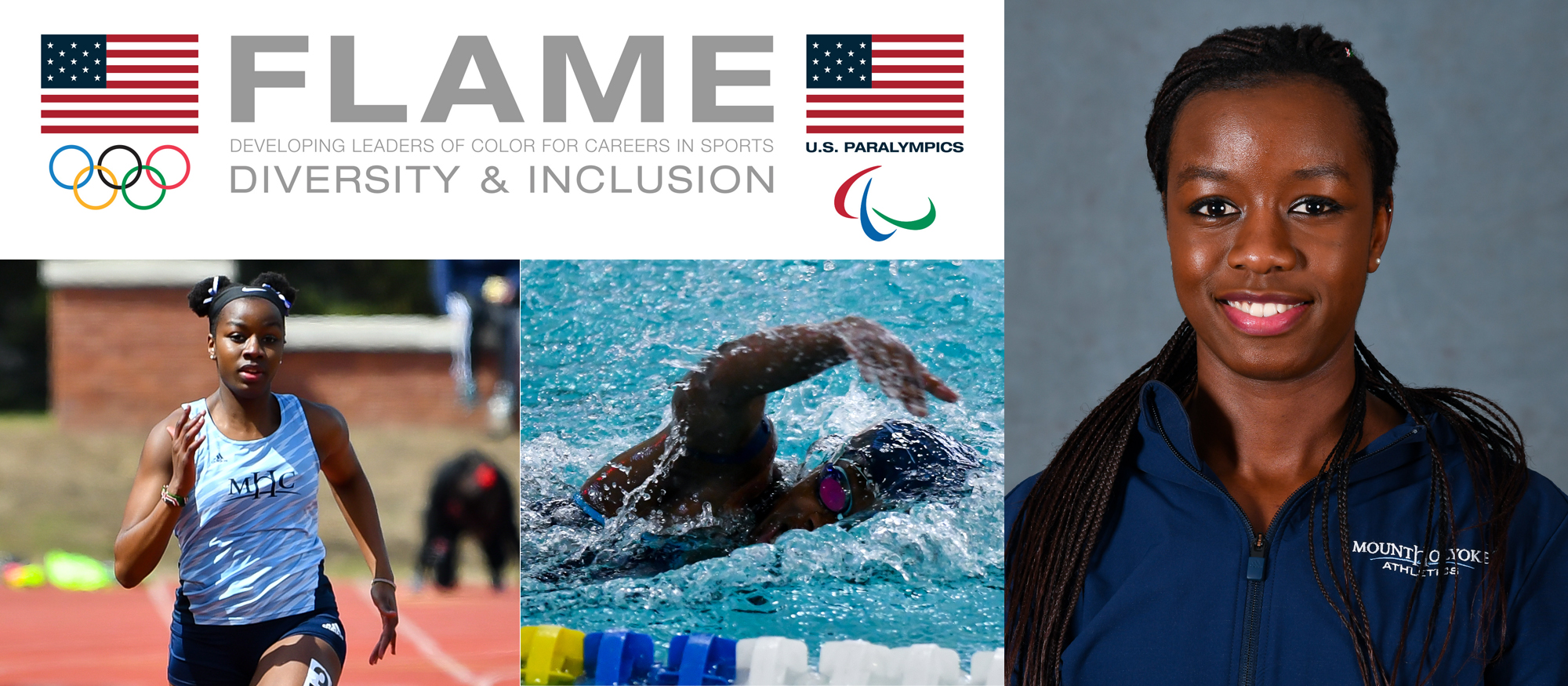 Photo showing images of Lyons swimmer and track & field sprinter, Tamara Mukulu, who was selected to the USOC's FLAME program.