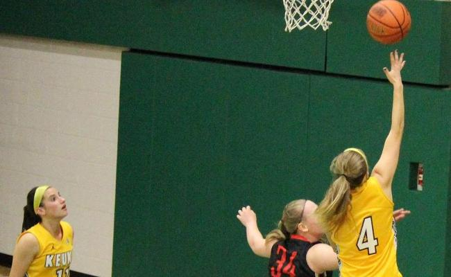 Senior Taylor Szwec recorded her first career double-double as Keuka's women's basketball team defeated Cazenovia College 75-55 Wednesday night (photo courtesy of Carly Volante, Keuka College Sports Information Department).