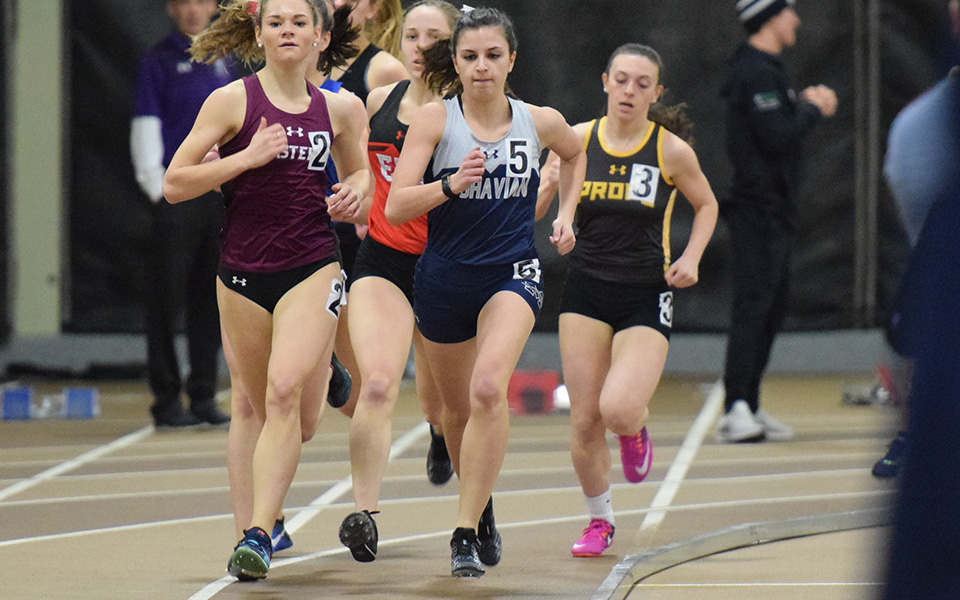 Freshman Natalie Stabilito competes at the Moravian Indoor Invitational at Lehigh University in January 2019.