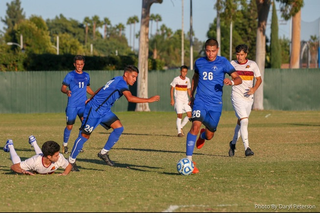 Bryan Villalobos (26) scored a hat trick in the Falcons win