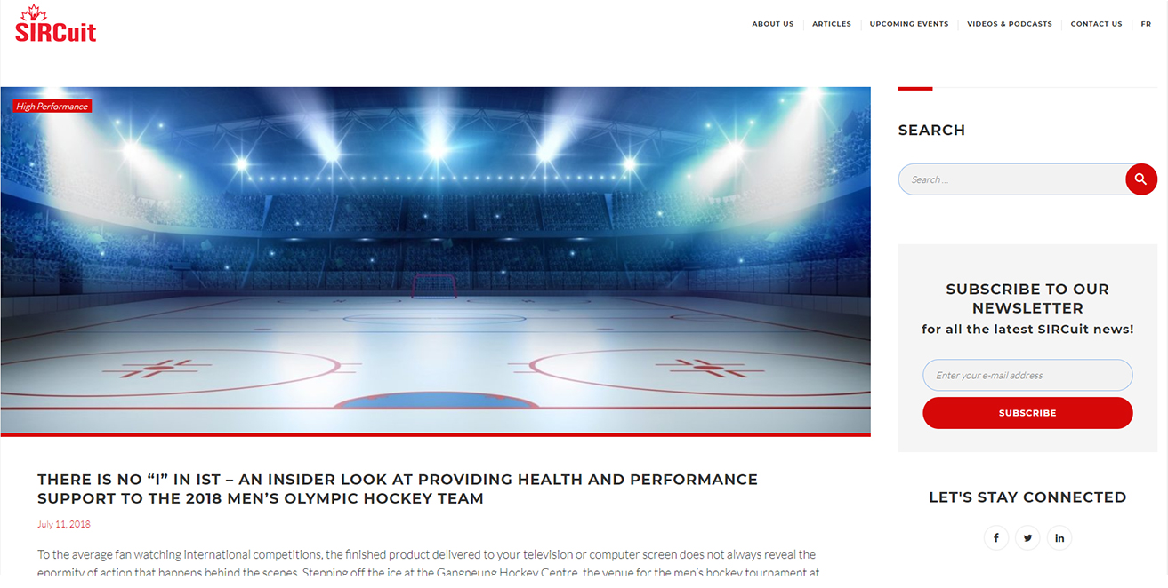 There Is No 'i' In Ist  - An Insider Look At Providing Health And Performance Support To The 2018 Men's Olympic Hockey Team
