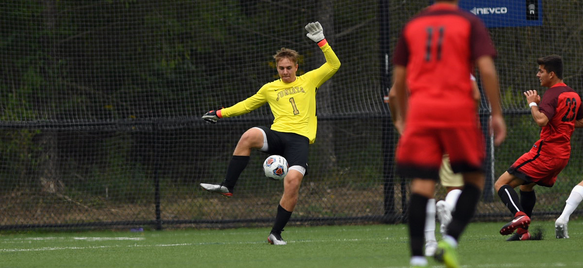 Andrew Yeich made 8 saves in goal in the 3-0 loss against Mt. Aloysius.