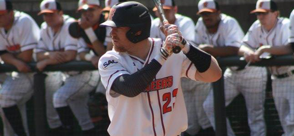 Colby Skeen recorded three hits on his birthday as Tusculum split a SAC doubleheader with Mars Hill (photo by Johnny Painter)