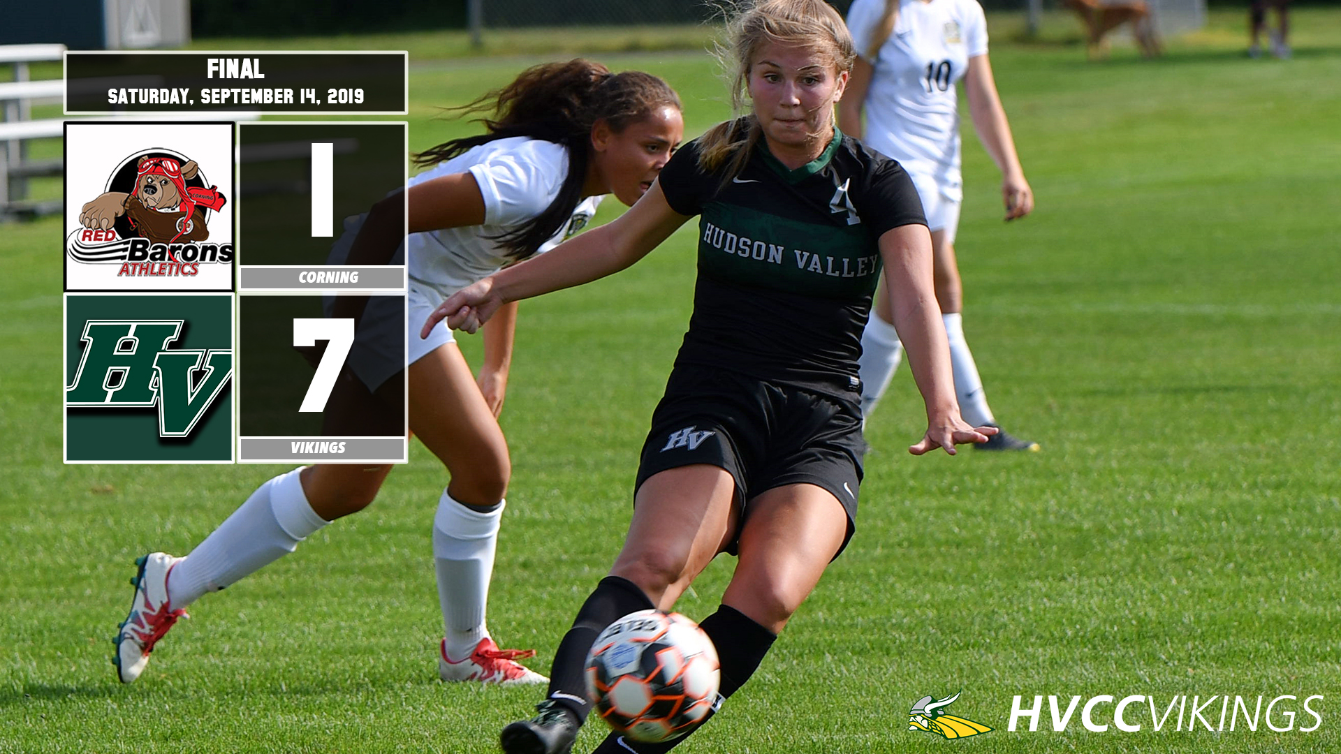 Women's soccer defeated Corning 7-1 on 9/14.