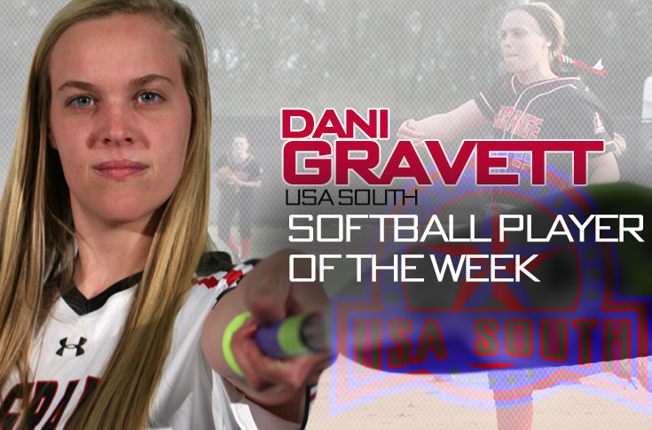 Softball: Dani Gravett selected as USA South Player of the Week