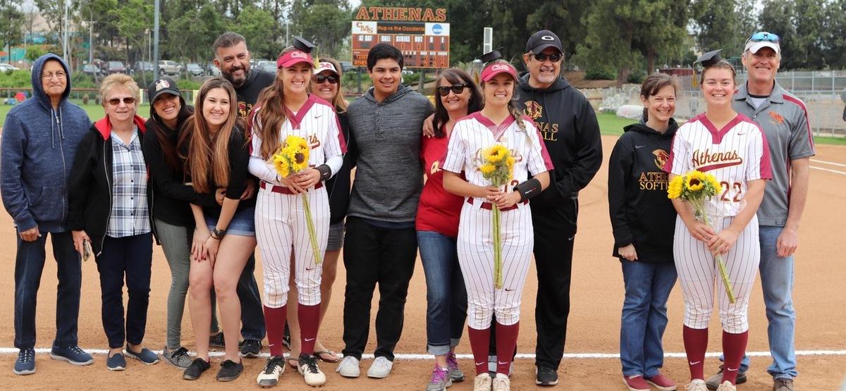 (l to r): Chloe Amarilla, Megan Mendez and Rachel Perley were honored prior to the doubleheader