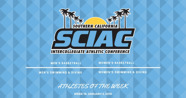 SCIAC Athletes of the Week: January 3, 2018