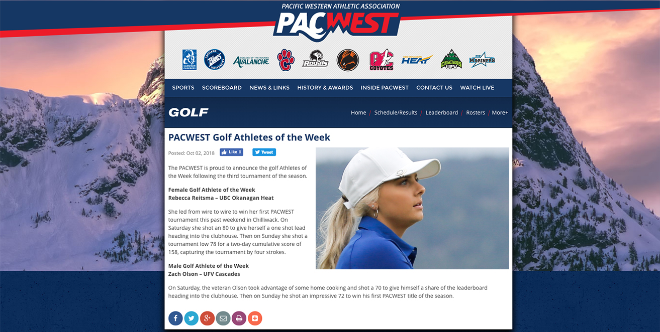 AWARDS: Rebecca Reitsma - PACWEST Female Golf Athlete of the Week