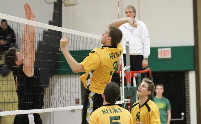 Senior Devin Lesch (center) had 10 kills with three blocks, but the Keuka College men's volleyball team fell to Hilbert College in four sets Sunday (photo courtesy of Ed Webber, Keuka College Sports Information Department).