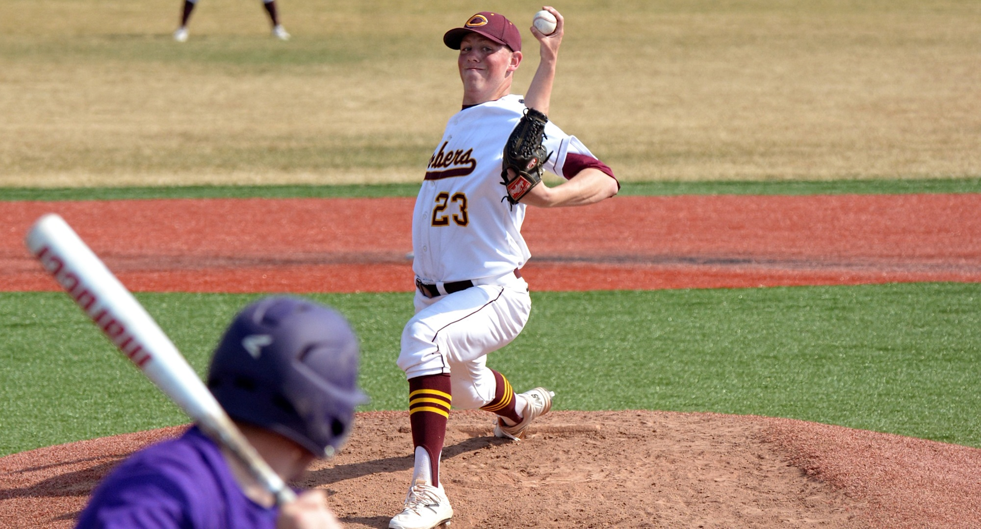Cole Christensen pitched a complete-game four hitter and retired the final 11 batters he faced in the Cobbers' split at Hamline.