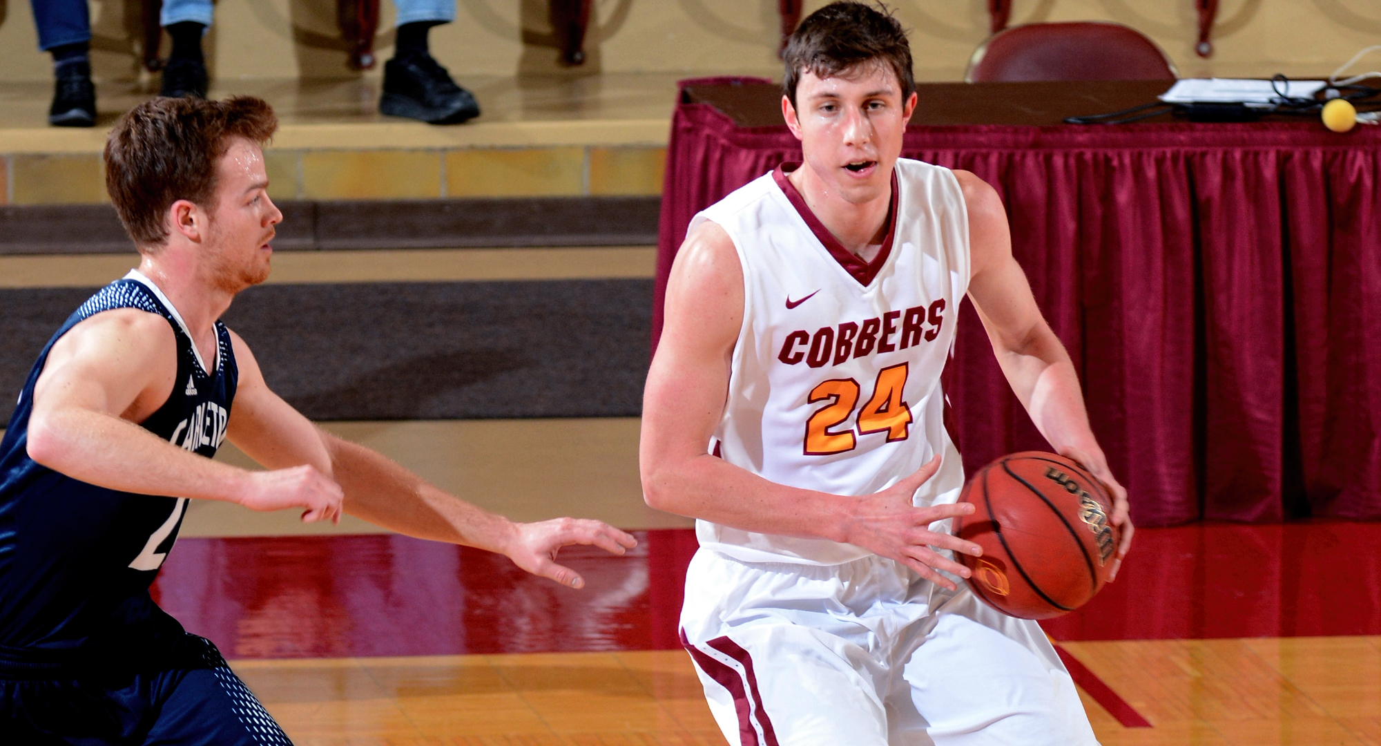 Senior Austin Nelson had a career-high 28 points in the Cobbers' season opener at Minn.-Morris.
