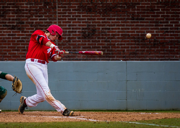 Sophomore first baseman Will Pharis hit a two-run home run in the Hawks' 6-3 loss to Piedmont on Saturday. (Photo by Christopher Morgan)