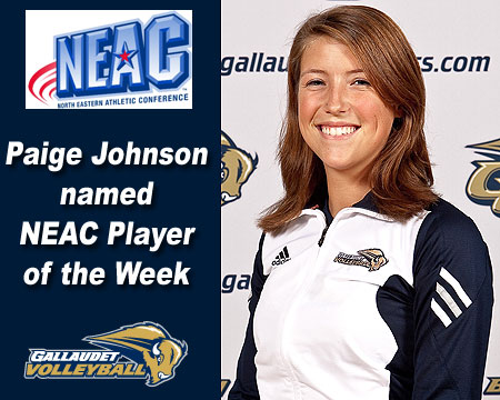 Paige Johnson named NEAC Volleyball Player of the Week