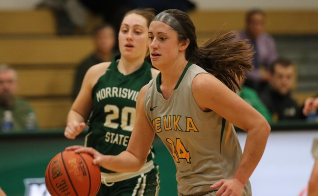 Katie Stuart (14) became the 13th Women's Basketball player at Keuka College to score 1,000 career points