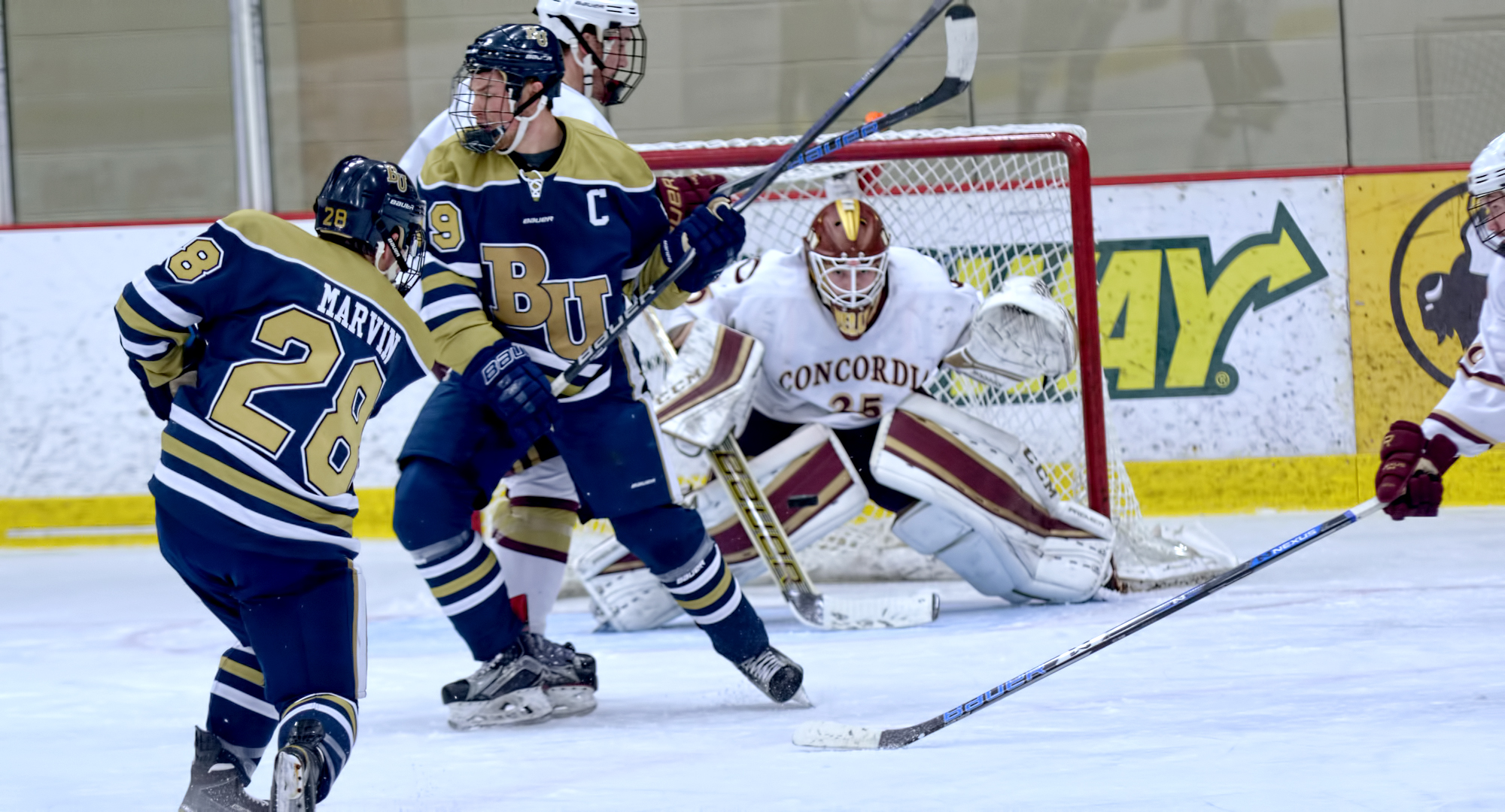 Sophomore goalie Sam Nelson concentrates on the puck after a shot by a Bethel attacker in the second period of the Cobbers' game with the Royals.