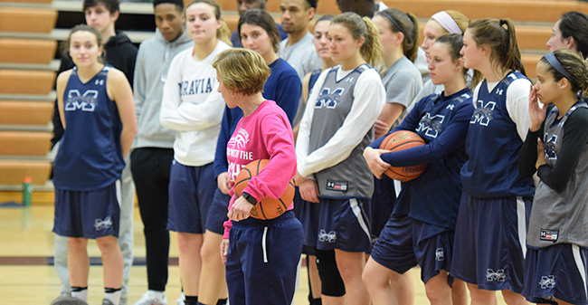 Head Coach Mary Beth Spirk talks before a clinic in Johnston Hall in 2017.