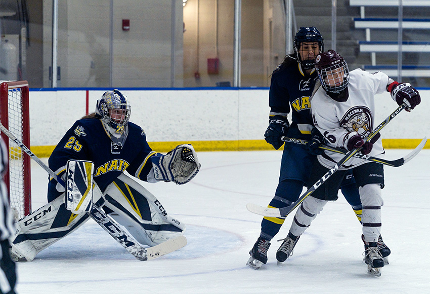 Jill MacWilliam and the Griffins were unable to put more than one past NAIT goalie Kaitlyn Slator on Friday night in a 2-1 loss (Matthew Jacula photo).