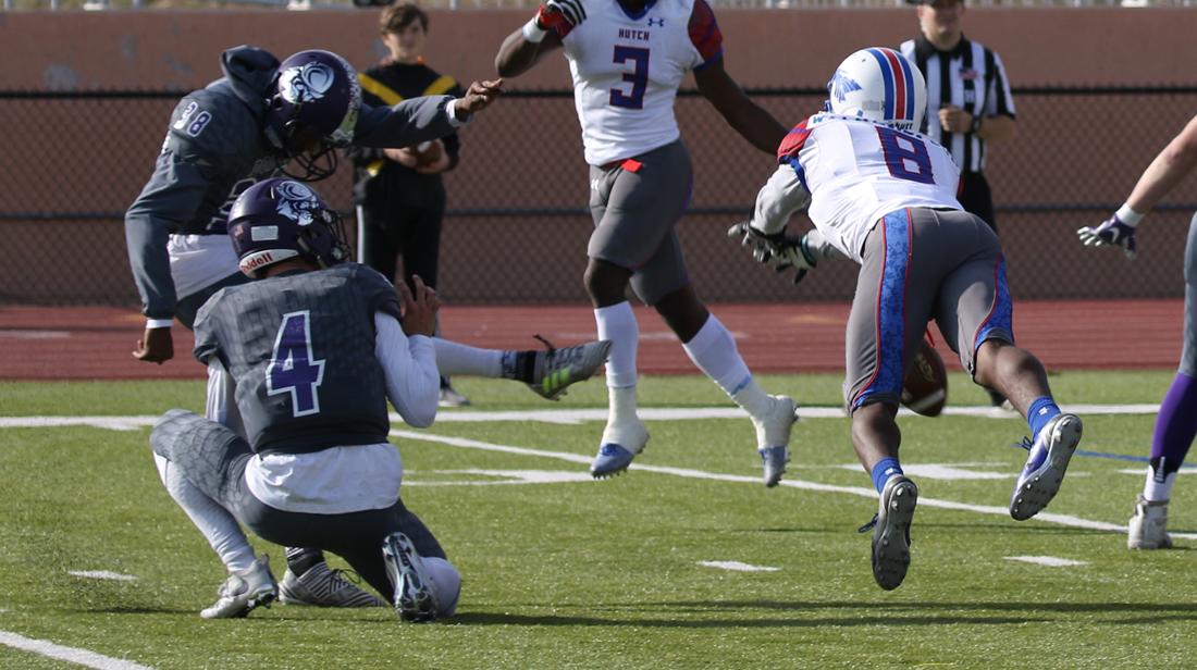Michael Witherspoon blocks a field goal late in the first half of Hutchinson's 27-6 victory over Dodge City on Saturday in Dodge City. (Joel Powers/Blue Dragon Sports Information)