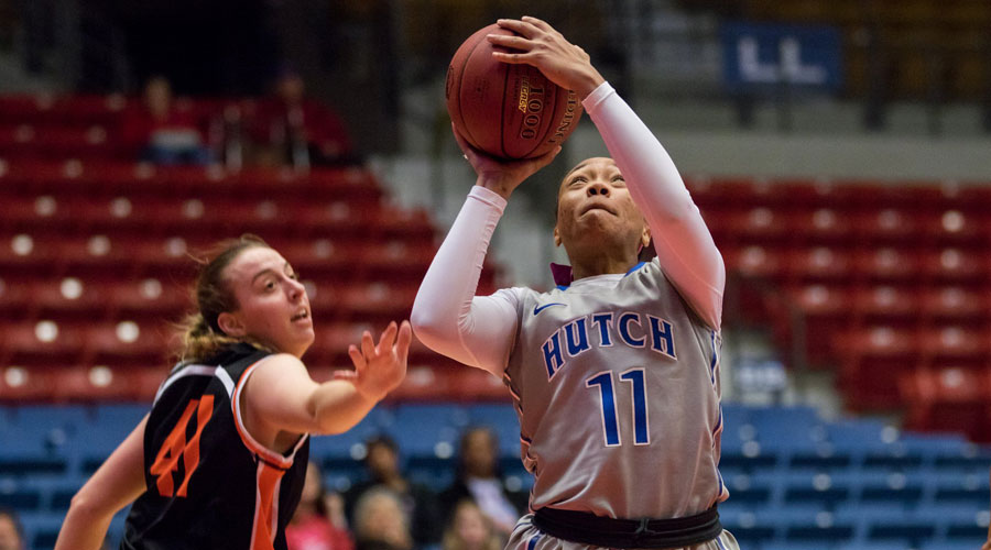 Alicia Brown was one of five players in double figures to lead the No. 22 Blue Dragons to an 82-48 victory at Allen on Wednesday in Iola. (Allie Schweizer/Blue Dragon Sports Information)
