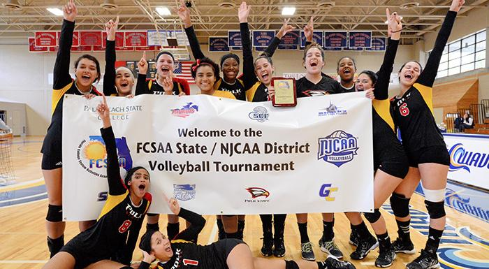 The Eagles celebrate after earning a berth in NJCAA Division 1 Volleyball National Championship. (Photo by Tom Hagerty, Polk State.)