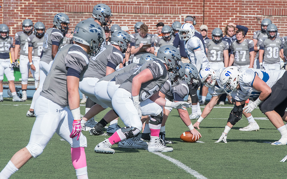 The Moravian offense is set to run a play versus Franklin & Marshall College at Rocco Calvo Field during the 2017 season.