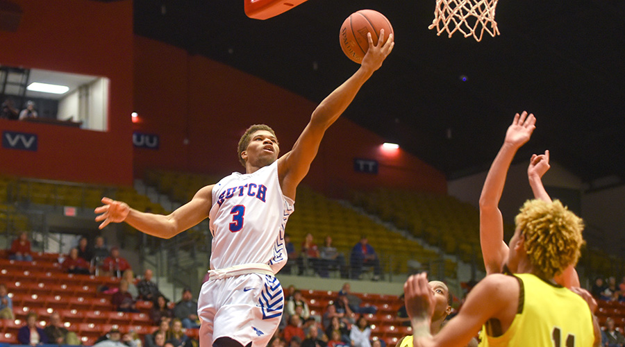 Clarence King scored a career-high 16 points to lead the Blue Dragon men to an 82-68 Jayhawk West win over Garden City on Saturday at the Sports Arena. (Nathan Addis/Blue Dragon Sports Information)