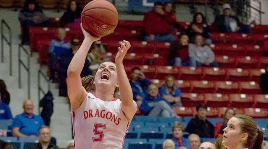 Kelsey Brett hit a big shot to start the comeback, but the Blue Dragons fell short in a 70-63 loss on Wednesday at Cloud County (Allie Schweizer/Blue Dragon Sports Information)