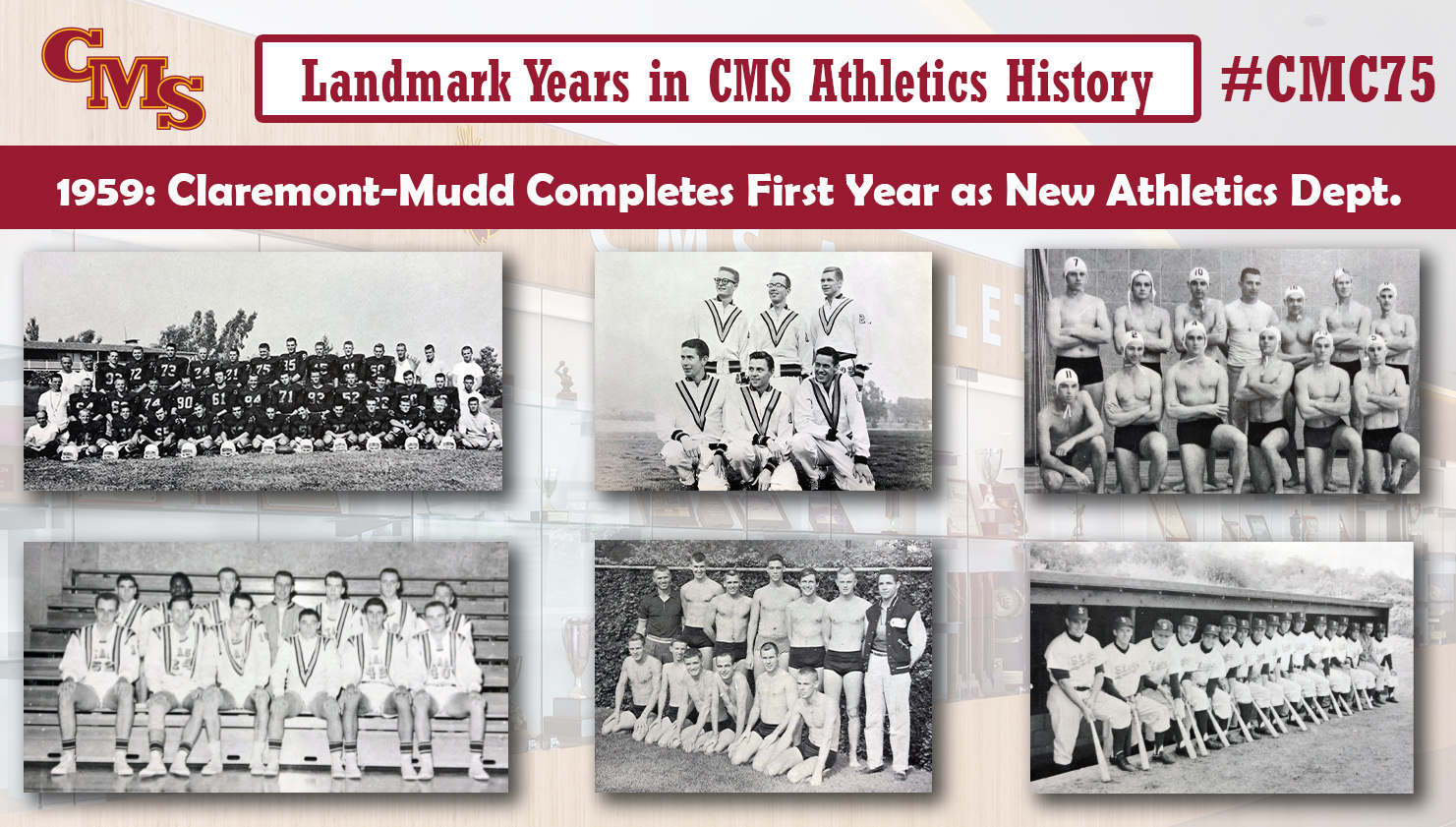 Team shots from six teams from Claremont-Mudd's debut season (top row: football, cross country, water polo, bottom row: basketball, swimming and diving, baseball). Words over the photo read: Landmark Years in CMS Athletics History: 1959: Claremont-Mudd Completes First Year in New Athletics Department