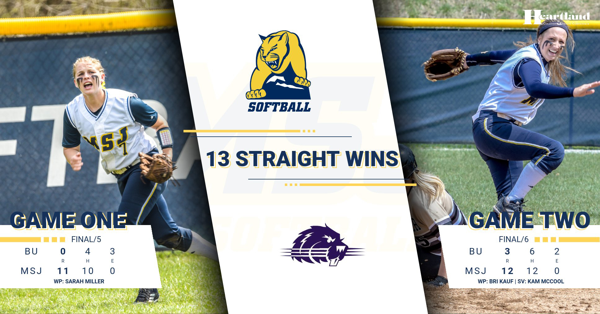 Mount St. Joseph softball sweeps Bluffton on the road: HCAC win streak now stands at 13