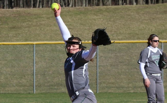 Janessa Vaadi (19) had a career-high 10 strikeouts in throwing a shutout on Saturday