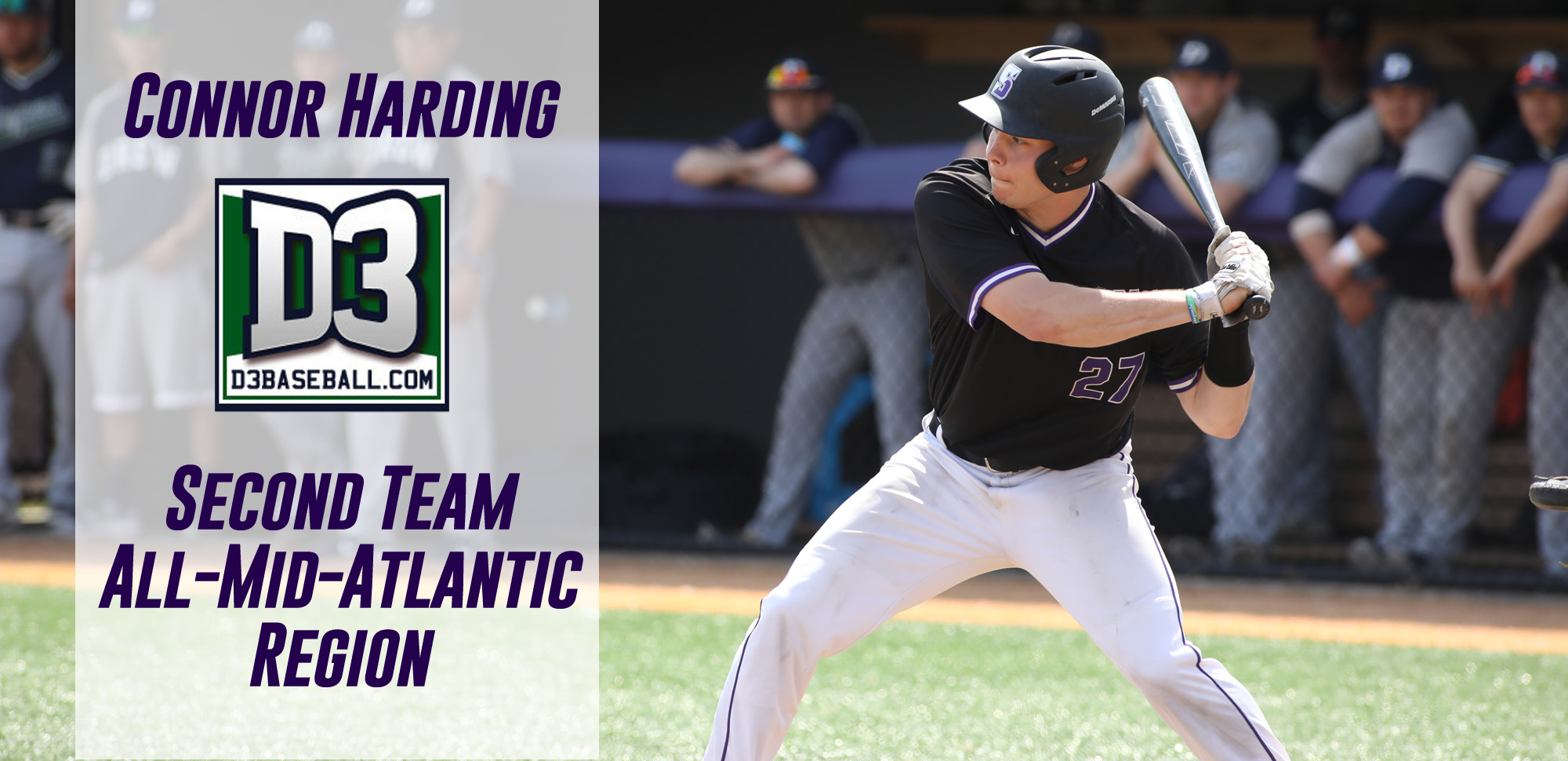 Sophomore Connor Harding has been named to the D3baseball.com All-Mid-Atlantic Region Second Team. © Photo by Timothy R. Dougherty / doubleeaglephotography.com