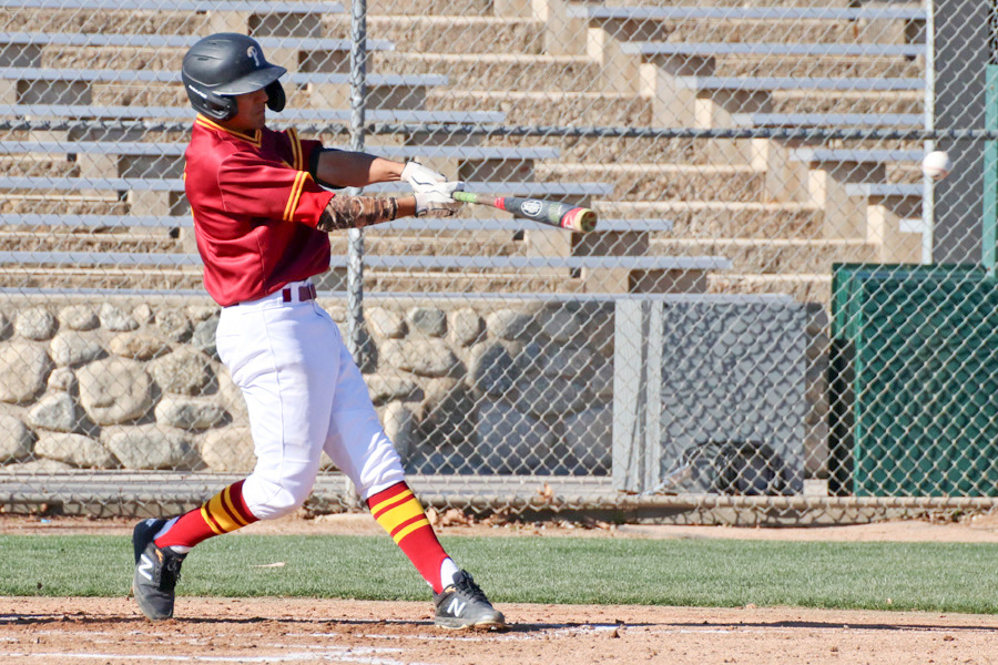 Gabriel Arellano has been a hitting sensation thus far in his first collegeiate games for the PCC baseball team, photo by Richard Quinton.