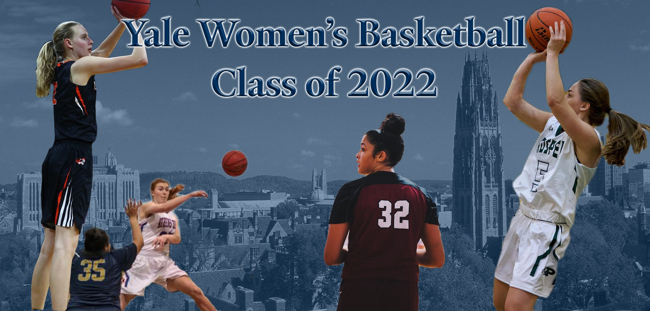 The Yale Women's Basketball Class of 2022: Camilla Emsbo, Robin Gallagher, Erin Hill and Mackenzie Hewitt.