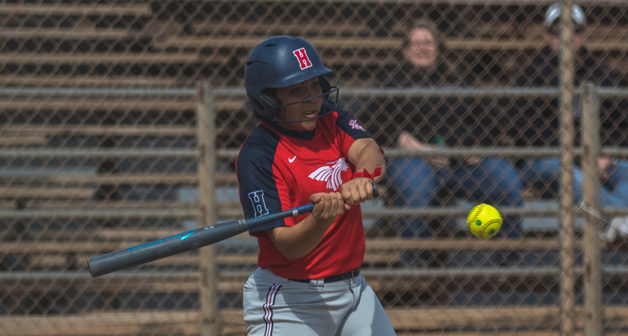 Kiara DeCrane was a combined 7 for 7 with seven RBIs and two home runs as No. 18 Hutchinson swept Coffeyville on Friday at Fun Valley. (Allie Schwiezer/Blue Dragon Sports Information)