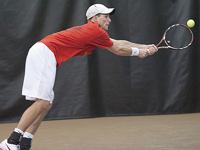 FSU's Kyle Revall earned a win at the top singles flight against GVSU (Photo by Ed Hyde)