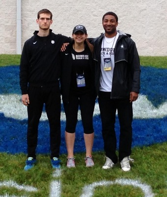 Senior javelin throwers Colin Tiernan and Ellen Masalsky with assistant coach Damon Hall