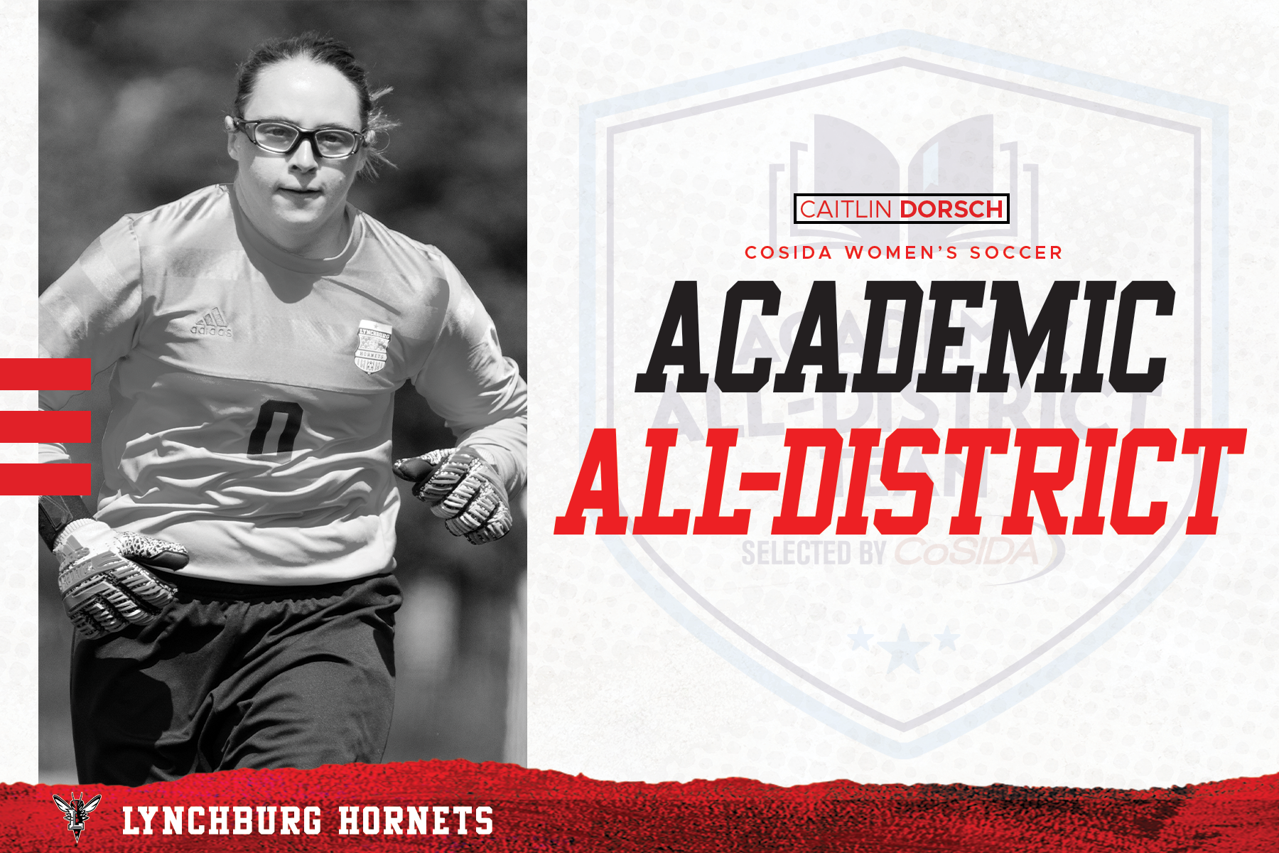 White and red CoSIDA academic all-district graphic with grayscale photo of Caitlin Dorsch in uniform at left