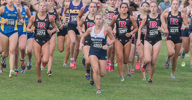 Katie Mayer '20 leads the race at the start of the Lehigh University Invitational in September.