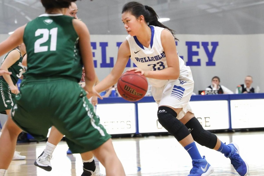 First year Alyssa Cho recorded her first career double-double in the Blue's 61-55 setback to Emerson (Miranda Yang).