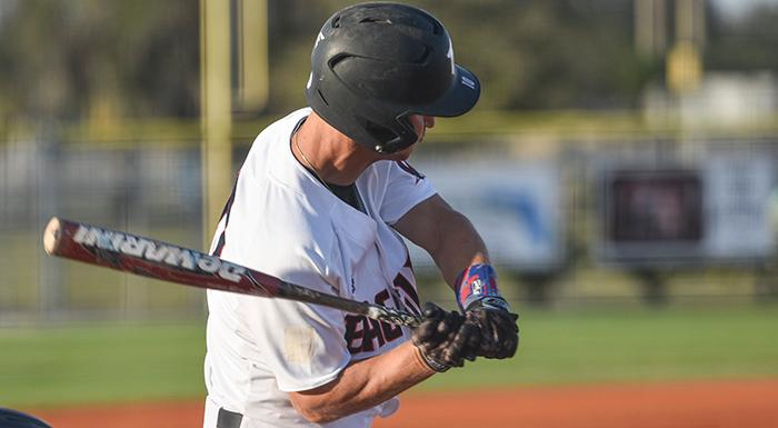 Zach Scott had a single, a double, a home run, two stolen bases, two runs, and six RBI in a 16-2 win over Pasco-Hernando. (Photo by Tom Hagerty, Polk State.)