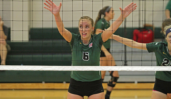 Harris' Strong Play at the Net Leads Volleyball to Sweep of Concordia