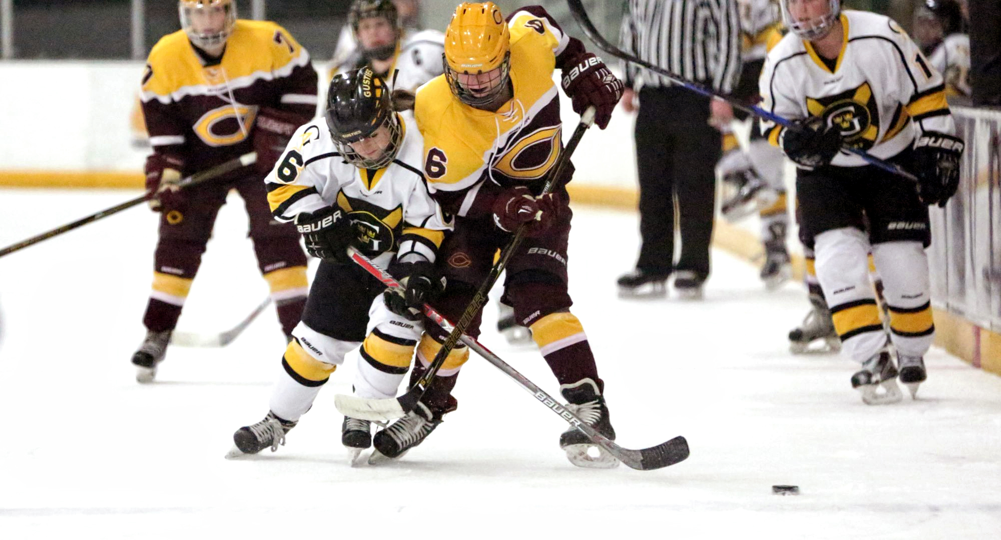 Senior Chelsey Petrich battles with a Gustavus player for the puck during the Cobbers' series opener in St. Peter. (Photo courtesy of Roisen Granlund - Gustavus sports information dept.)