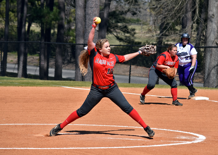 Sophomore Raina Lanier pitched a complete game for the win in Game 1 and earned a save in Game 2 of Wednesday's sweep of LaGrange.