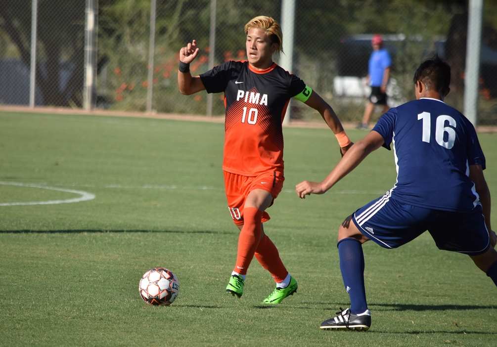 Sophomore Hugo Kametani broke a scoreless tie with his goal in the 57th minute to push the Aztecs past Mesa Community College 1-0 for their seventh straight win. Aztecs are now 7-1 on the season. Photo by Ben Carbajal