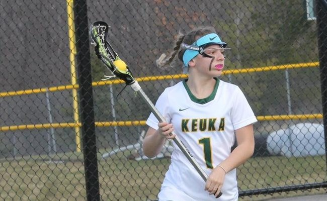 Vanessa Tsarevich (1) scored the game-winner for Keuka College in overtime