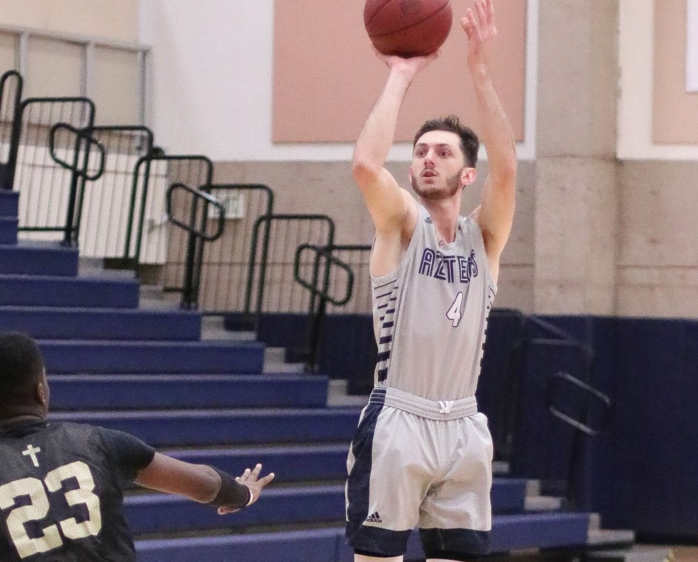 Sophomore Cole Gerken (Ironwood Ridge HS) scored 14 points with eight rebounds and six assists as the Aztecs men's basketball team beat Park University 86-76 in the second day of the Pima College Tip-Off Classic. The Aztecs are 2-1. Photo by Stephanie Van Latum
