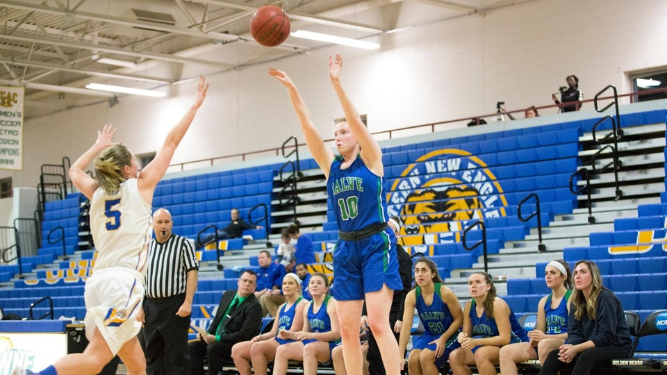 Mary Rorke shoots from the corner in front of her bench during Salve Regina's 51-50 win over Western New England. (Photo by Rob McGuinness)