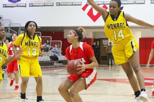 Mesa's Diamond Fuller looks to score in Friday's Final Four matchup with Monroe. (Photo by Aaron Webster)