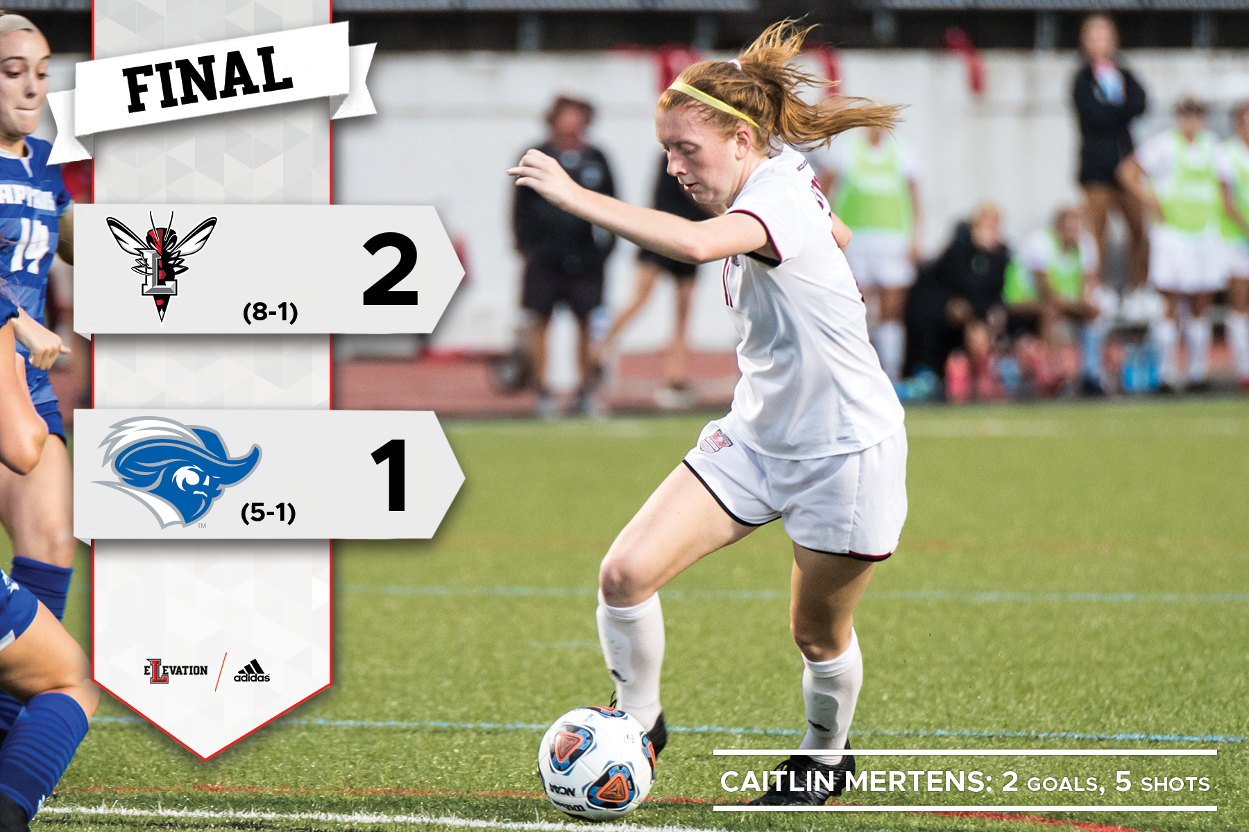 Caitlin Mertens playing soccer. Graphic showing CNU and Lynchburg logos and 2-1 final score.